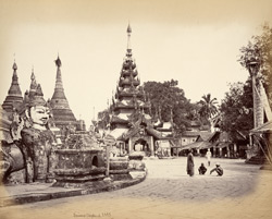 View from South-West angle of [Shwe Dagon] Pagoda looking towards entrance, [Rangoon].